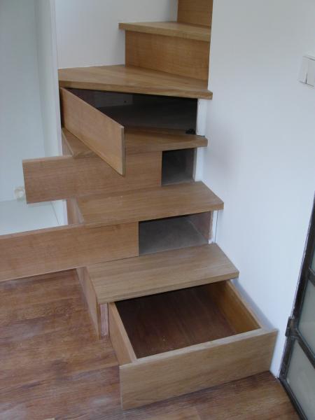Amibois escalier balanc avec rangements for Rangement escalier